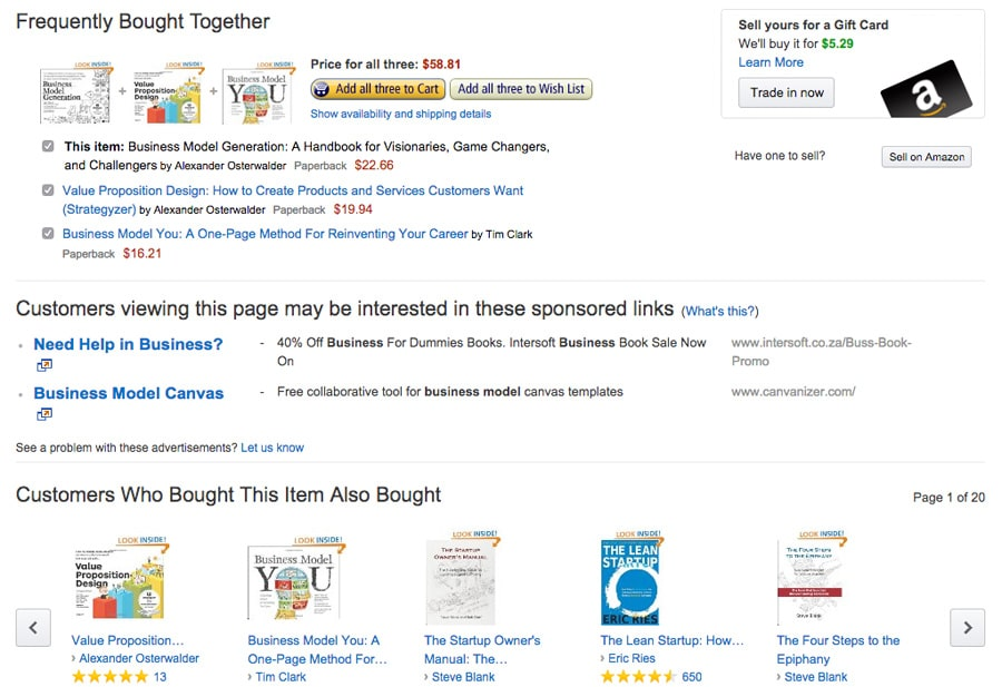 An example of Amazon's recommendation engine