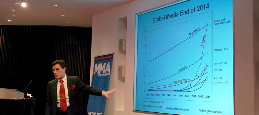 A graph showing the growth of all the major mass media over the past 50 years