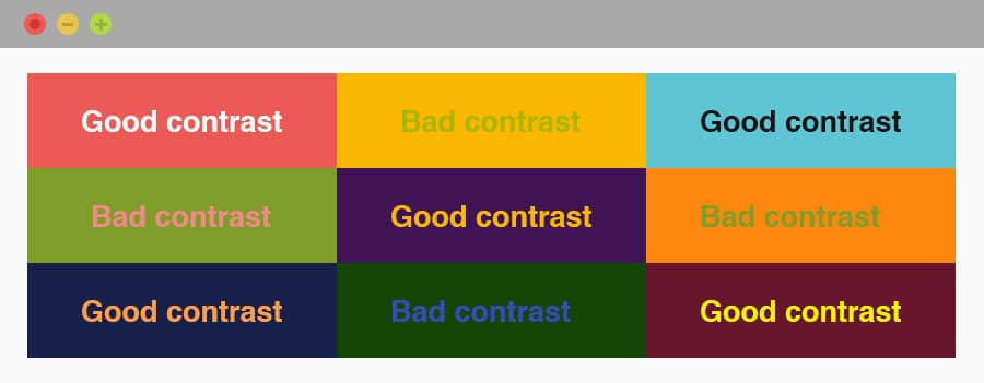 Examples of colour combinations and the contrast between them - colour combinations with good contrast are easier to read and will improve your site's typography