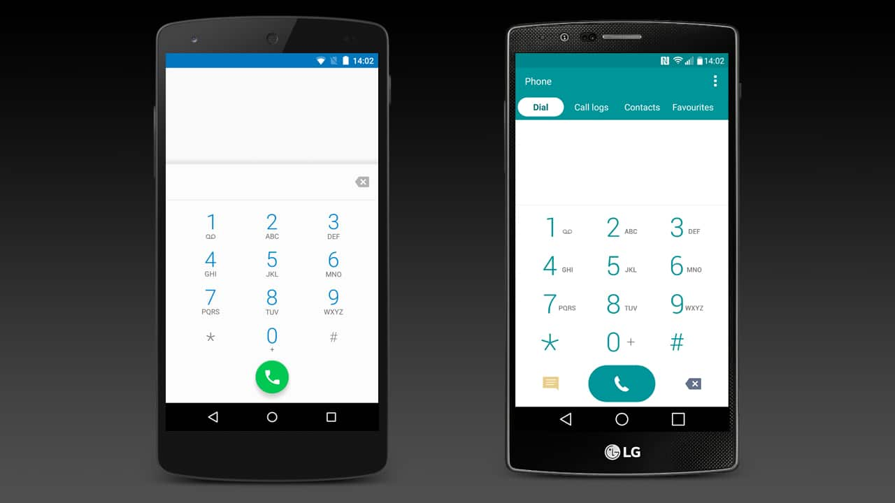The dialler app on the Google Nexus 5 and LG G4