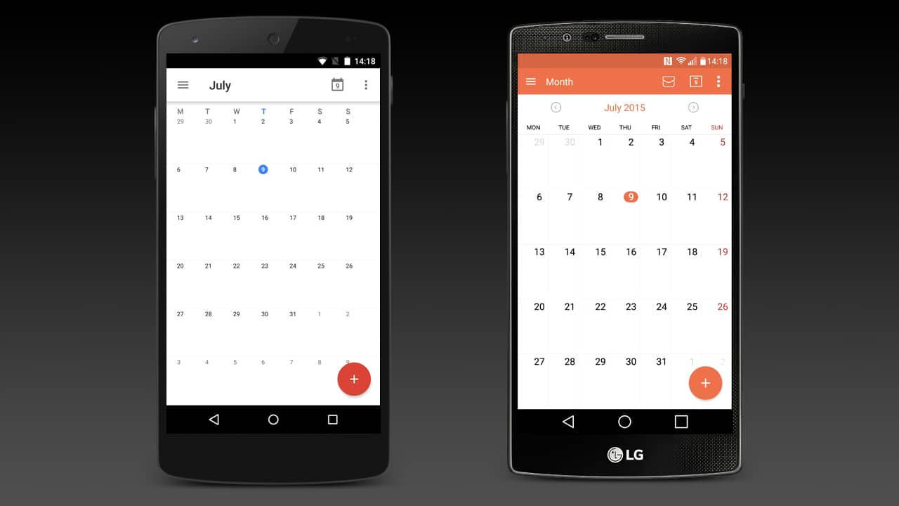 The different built-in calendar apps on the Google Nexus 5 and LG G4