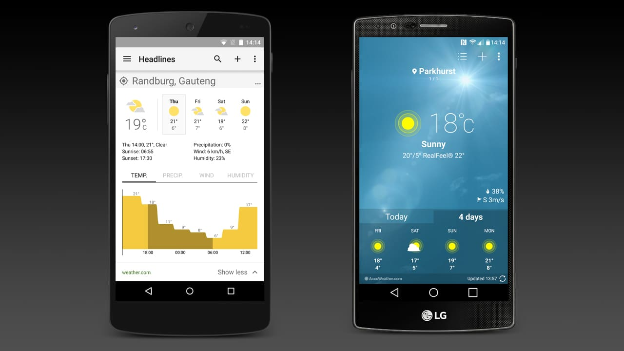 The weather apps on the Google Nexus 5 and the LG G4