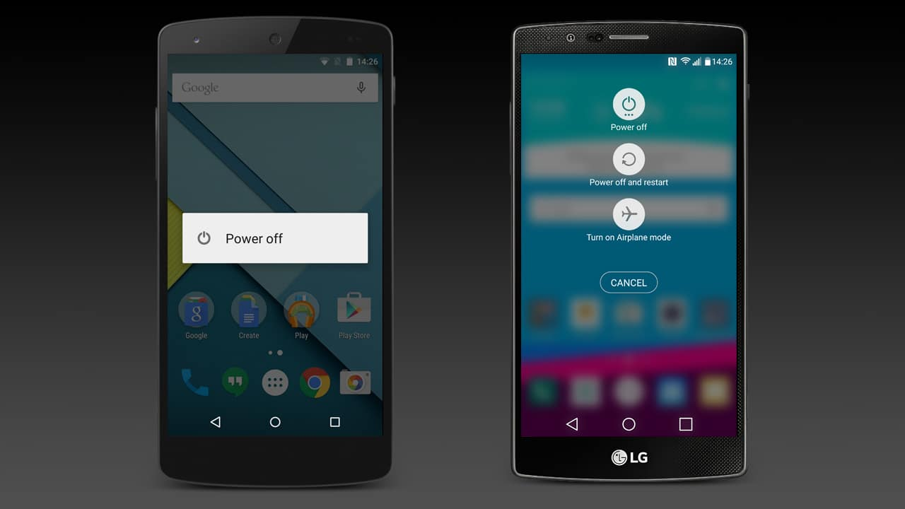 The power off screens on the Google Nexus 5 and the LG G4