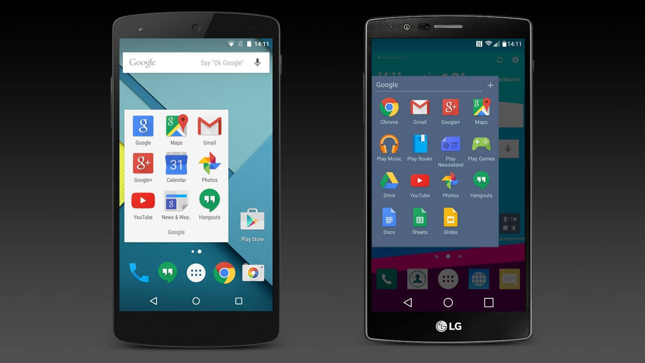 App folders on the Google Nexus 5 and LG G4 homescreens