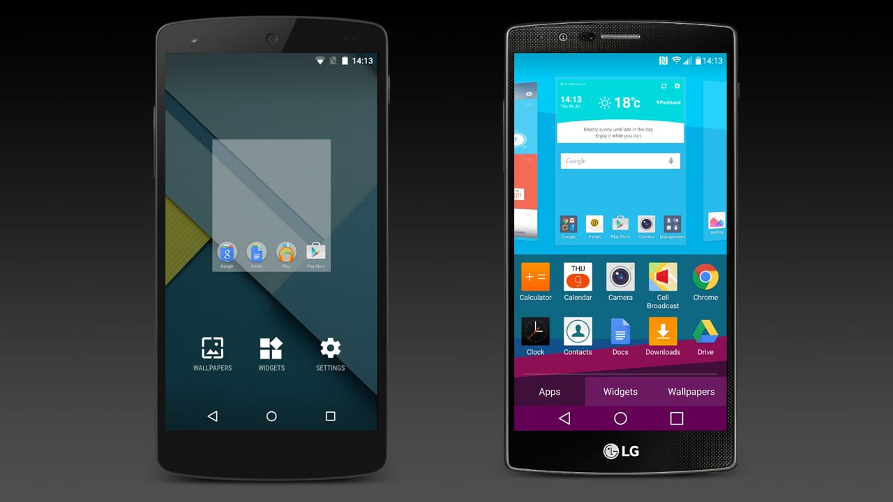 The homescreen customisation screen for the Google Nexus 5 and the LG G4