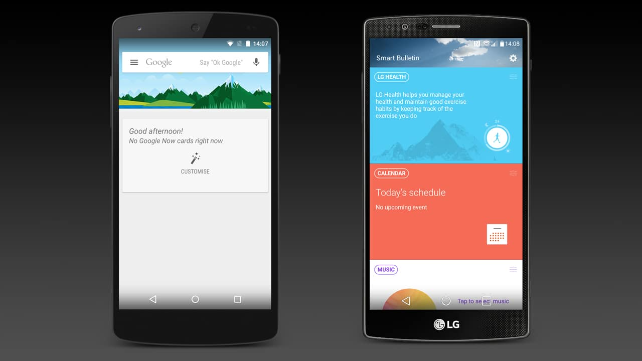 The default extra homescreen on the Google Nexus 5 and LG G4