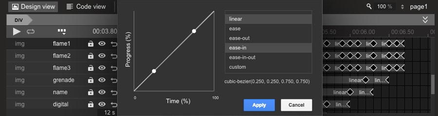 Changing the easing in Google Web Designer