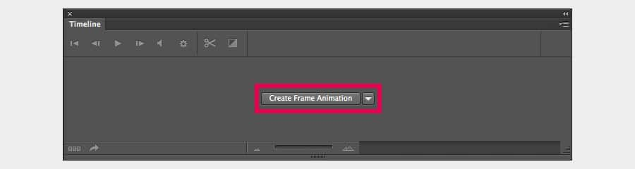 "Opening the Photoshop Timeline panel and selecting ""Create Frame Animation"""